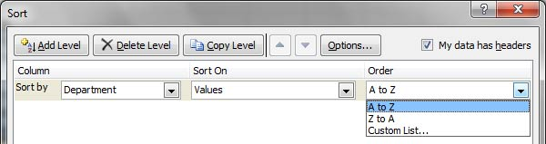 Custom Sort Popup in Excel 2010