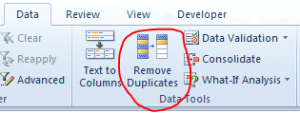 Remove Duplicates Button on Data tab in Excel 2010