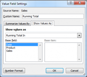 Show Values As - Running Total In
