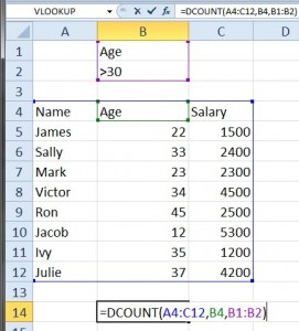 Count the cells that meet a specific criteria using Dcount
