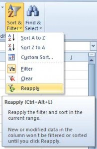 Reapply Sorting in Excel